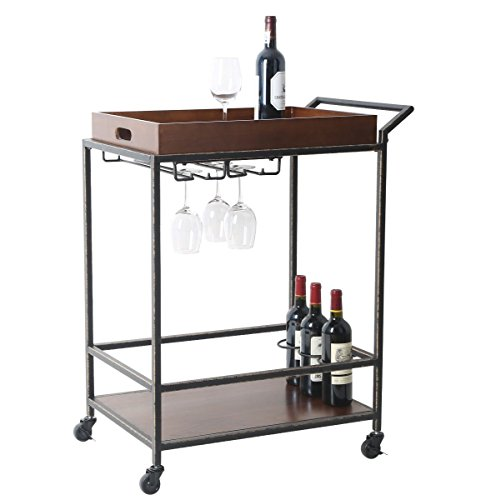 Tidy Living - 2-Tier Antique Serving Wine Cart In Solid Wood With Removable Serving Tray (Bar Carr)