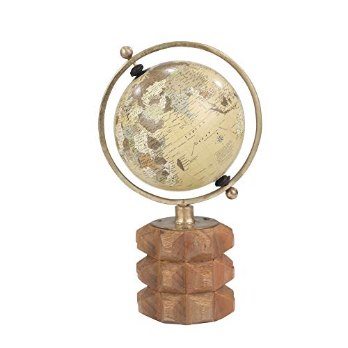 (Sagebrook Home Globe ON Carved Wood Base, TAN, 8x6x13.5,)