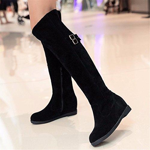 RFF-Women's Shoes Winter boots high boots size abrasive belt buckle with cashmere Biker Boots Black vVb471oV4V