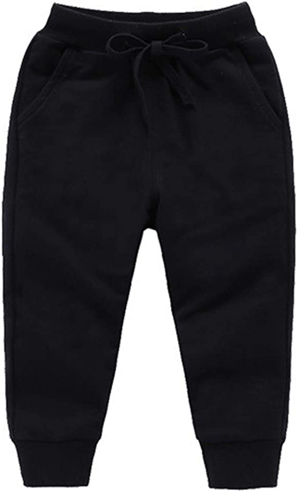 DCUTERQ Boys' Athletic Jogger Pants Baby and Toddler Unisex Kids Girls Cotton Sweatpants Active Trousers Black 7T