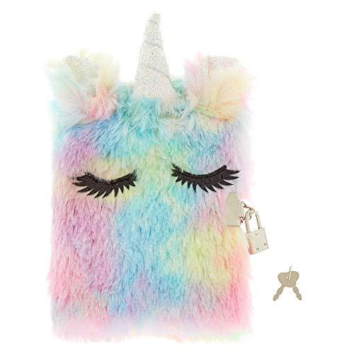 Claire's Girl's Pastel Rainbow Unicorn Lock Plush Diary