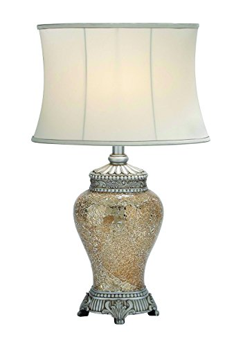 Benzara 40159 Polished Stone Long Lasting Mosaic Table Lamp In White ()