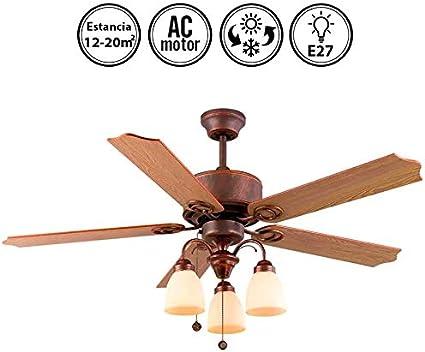 Lámpara Ventilador de Techo Cuero. 5 Aspas. Madera 3xE27. 122 cm Diámetro.: Amazon.es: Hogar