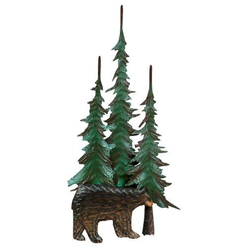 Black Bear & Tree Metal Wall Rustic Sculpture