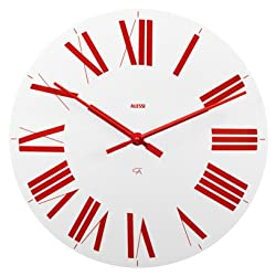 Alessi Firenze Wall Clock, White and Red 14.25