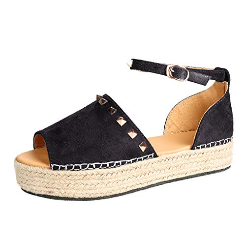 - HOSOME Women Woven Thick-Bottom Sandals Rivet Flat Playform Buckle Roman Shoes Black