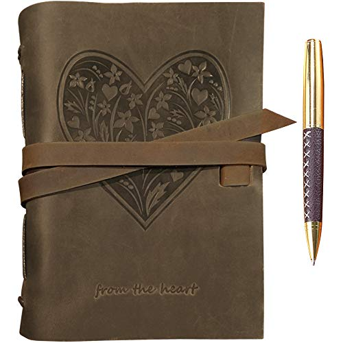 Genuine Leather Journal for Women - Embossed Heart Beautiful A5 Handmade Travel Diary, Vintage Writing Bound Notebook Antique Soft Rustic 6x8 Engraved Unlined Paper for Notes Perfect Sketchbook + Pen ()