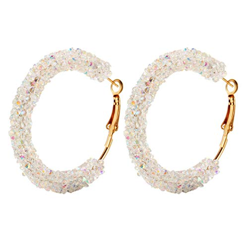 (Classic Crystal Hoop Earrings Charming Geometric Round Shiny Rhinestone Female Women Pendant Earring Jewelry Gift)