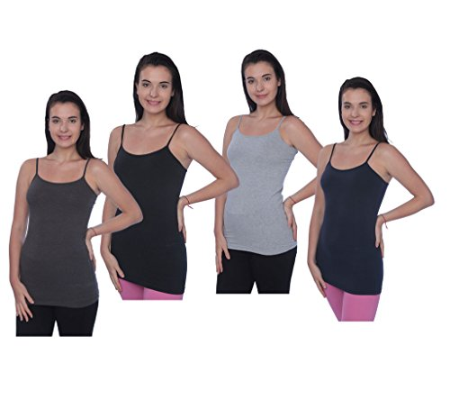 Beverly Rock Womens Missy and Plus Size Spaghetti Strap Long Tank Top Camis Basic Camisole JLTT 4_Pack 1X