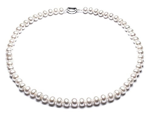 JYX Natural White Freshwater Cultured Pearl Necklace (Pearl String 18 Inch Necklace)