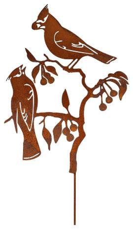 Elegant Garden Design Cedar Waxwing on Cherry Stake