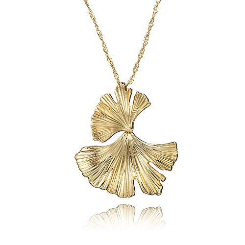 (❤️Jonerytime❤️ Women Vintage Fashion Creative Big Metal Flower Ginkgo Leaf Alloy Earrings (Necklace) )