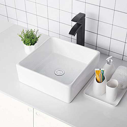 Logmey 15''x15'' Square Above White Porcelain Ceramic Bathroom Vessel Vanity Sink Art Basin ...