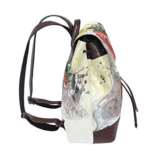 Kvinnor PU-läder stänk jordgubbar grafisk design ryggsäck handväska resa skola axelväska vardaglig dagväska