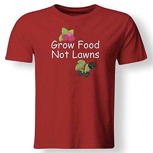 Grow Food Not Lawns Urban Farming City Farmer T Shirt Red X-Large