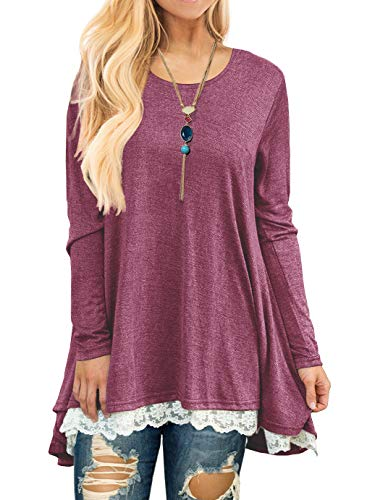 QIXING Women's Lace Long Sleeve Tunic Top Blouse Wine Red-M