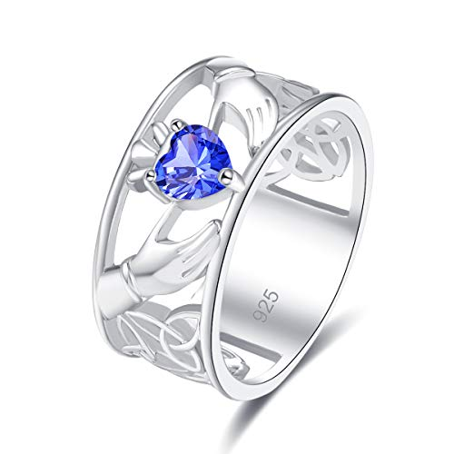 Veunora 925 Sterling Silver Plated Lab-Created Tanzanite Claddagh-Style Promise Proposal Engagement Wedding Rings for Women Girl Size ()