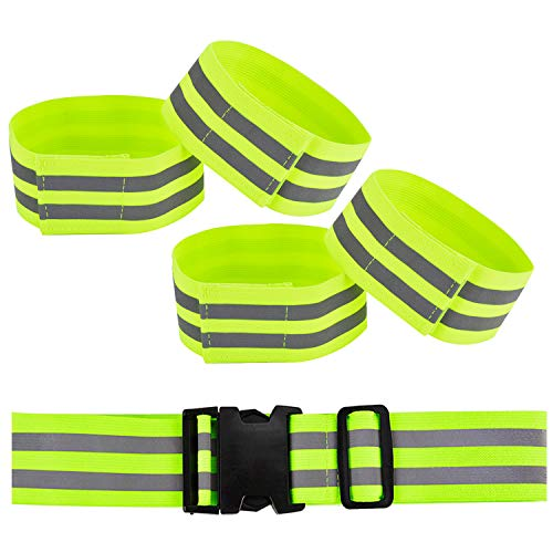 Fansport Reflective Bands High visibility reflective running gear Reflective Wristbands, Reflective Ankle Bands, Safety Belt for Jogging, Walking, Cycling