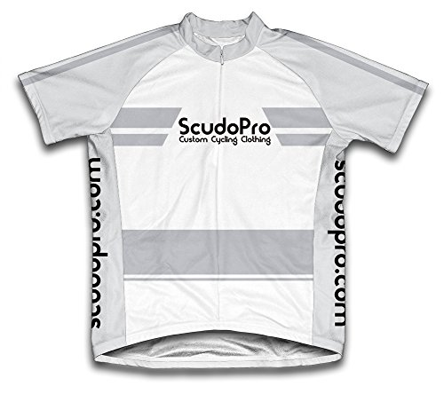 ScudoPro White Moisture Wicking Fabric Short Sleeve Cycling Jersey for Men - Size 4XL