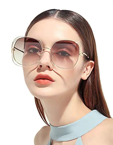 (Oversized Sunglasses Gradient Lens for Women Full Metal Double Wire Frame 100% UV Protection (Brown))