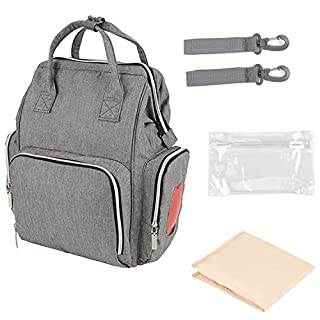Yosoo Diaper Bag Backpack, Multi-Function Travel Backpack with Stroller Straps Wipes Box, Nappy Bags for Baby Care, Large Capacity, Stylish and Durable (Grey)