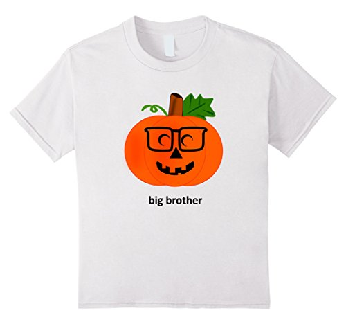 Kids Big Brother Pumpkin Halloween Costume TShirt Jack O' Lantern 10 White