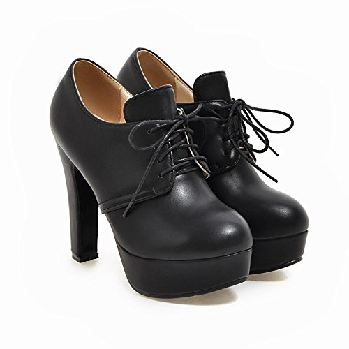 Charm Foot Womens Lace Up Platform High Heel Oxfords Shoes Black Rn2AH6
