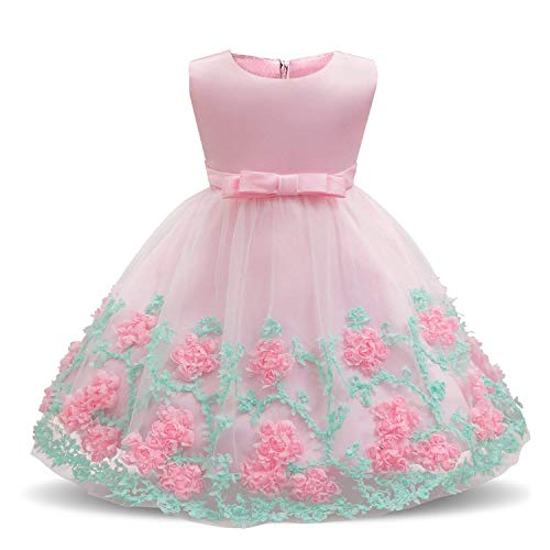 Vicokity Newborn Toddler Girl Dress Floral Princess Flower Girl Dresses Bridesmaid Dress with Bowknot for Party Wedding (Pink, 6-12 Months)