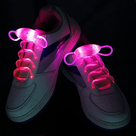 LED Shoelaces Light Up Flashing Shoe Laces With 3 Modes In 5 Colors(Pink)