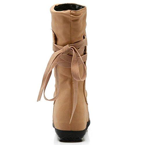 apricot Hidden Casual KemeKiss Calf Mid Back Women Strap Boots Back Strap Heel rSrwnPxA