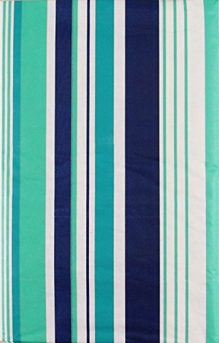 (Summer Fun Beach Stripes Purple, Teal and Green with Zipper Umbrella Hole Vinyl Flannel Back Tablecloth (60