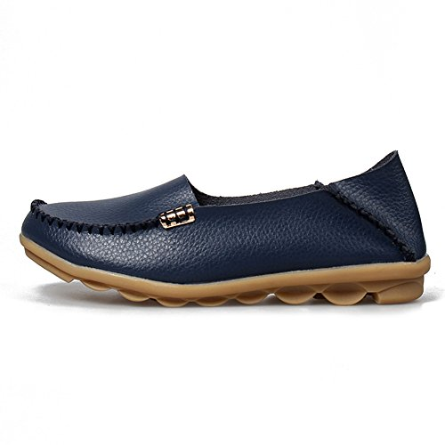 A Leather Casual Navy Flat Slip SCIEN Women's Shoes Driving On Moccasins Loafers Slippers Walking g7TTqw