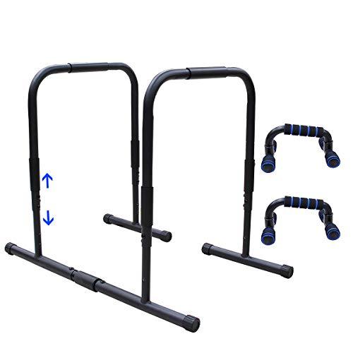 UBOWAY Functional Dip Stands - Steel Parallel Bars with Double Safety Connectors Fitness Workout Dip Bars Push Up Stand with Push-up Holders