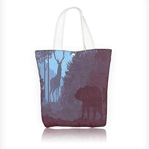 Stylish Canvas Zippered Tote Bag Cabin Grizzly Bear and Antler Mysterious Woods Smoky Faun Sky Shopping Travel Tote Bag W16.5xH14xD7 INCH