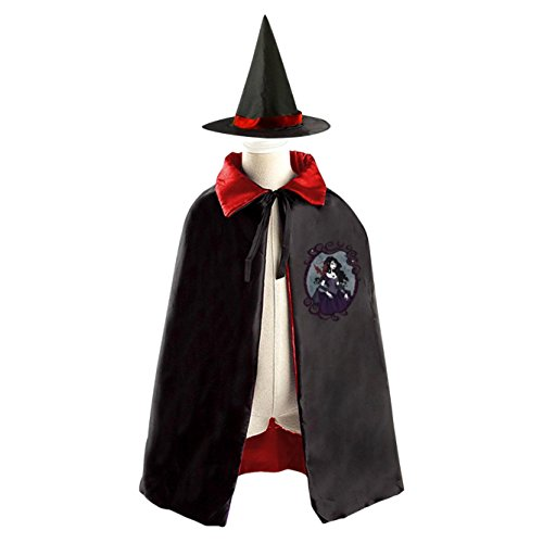 Vampire Godness Magic Halloween Witch Hat and Cloak for Kids Red