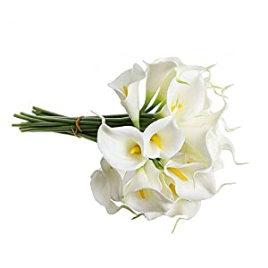"Supla Real Touch Calla Lily Artificial Silk Flower Bundle in White with Yellow Stamens 20 Stems Per Bundle 13"" Tall x 9"" Diameter 41"