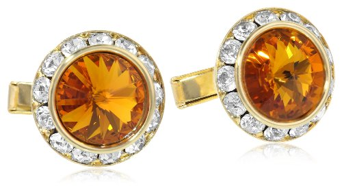 Stacy Adams Men's Gold Dark Topaz Crystal Rondell Cuff Link, One Size