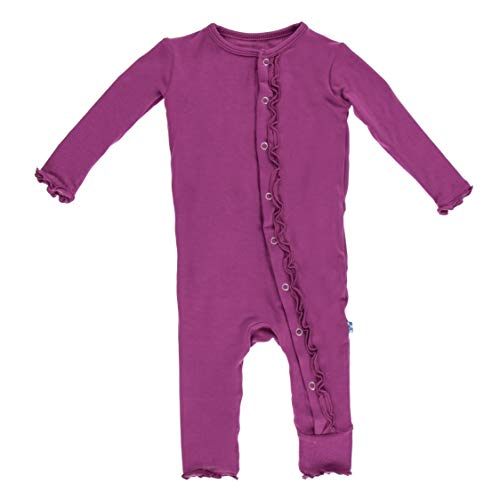 - KicKee Pants Girls Basic Muffin Ruffle Coverall- Orchid, 6-9 Months
