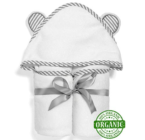 100% Organic Bamboo Baby Towel with Hood by Babyvybe - Soft Hooded Towels for Boys and Girls - Ultra Absorbent, Quick-Dry, Hypoallergenic
