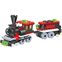 Mini Train - 120 pcs building blocks steam 2 windows cabin engine locomotive railway train set comes with load wagon bogie, a great full fun gift - a must for all 6+ children, compatible parts