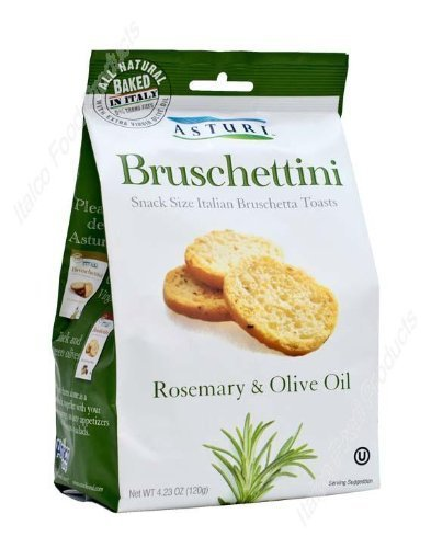 Asturi Rosemary & Olive Oil Bruschettini (Snack Size Italian Bruschetta Toasts), Buy TWELVE Bags and SAVE, Each Bag is 4.23 oz (Pack of 12) (Olive Oil Spread)