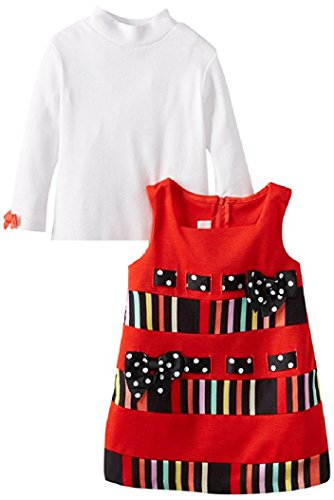 Bonnie Baby Baby Girls' Stripe and Solid Corduroy Jumper, Red, 2T