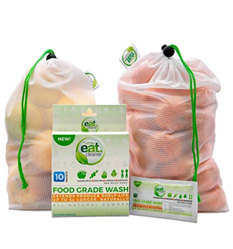 Eat Cleaner Fruit and Vegetable Wash Powder Washes Up to 300 lbs of Produce, Removes Harmful Residue Water Can't, Only Patented and Lab Proven Veggie Wash in Powder Form - 10 Ct. Packets