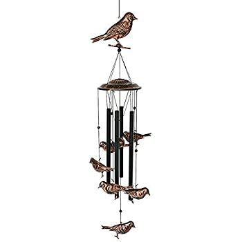 BLESSEDLAND Bird Wind Chimes-4 Hollow Metal Tubes -Wind Bells and Birds Wind Chime with S Hook for Indoor and Outdoor