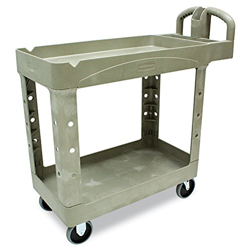 Rubbermaid Commercial FG450088BEIG Heavy-Duty Service Cart with Lipped Shelves, Small, Beige