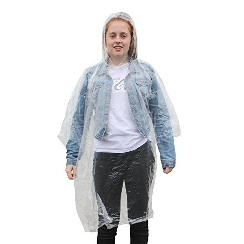 eBuyGB Pack of 4 Adult Emergency Waterproof Rain Ponchos with Hoods - Festivals Theme Parks (Transparent)