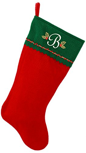 Monogrammed Me Embroidered Initial Christmas Stocking, Green and Red Felt, Initial -