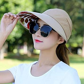 Amazon.com  Lessonmart 1PCS Women Summer Sun Hats Pearl Packable Sun Visor  hat with Big Heads Wide Brim Beach hat UV Protection Female Cap  Kitchen    Dining f9b32362b62a