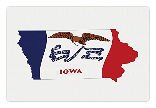 - Lunarable Iowa Pet Mat for Food and Water, The Hawkeye State Map and Flag Bald Eagle Carrying Streamer Beak, Rectangle Non-Slip Rubber Mat for Dogs and Cats, Cobalt Blue Vermilion and White