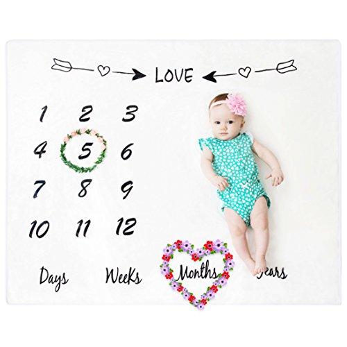BeautifulLife Baby Milestone Blanket Photo Props - Premium Fleece Blanket, Infant Newborn Baby Boy Girl Photography Backdrop, Fluffy Soft Swaddling Blanket, Weekly Monthly Yearly Photo for New Mom